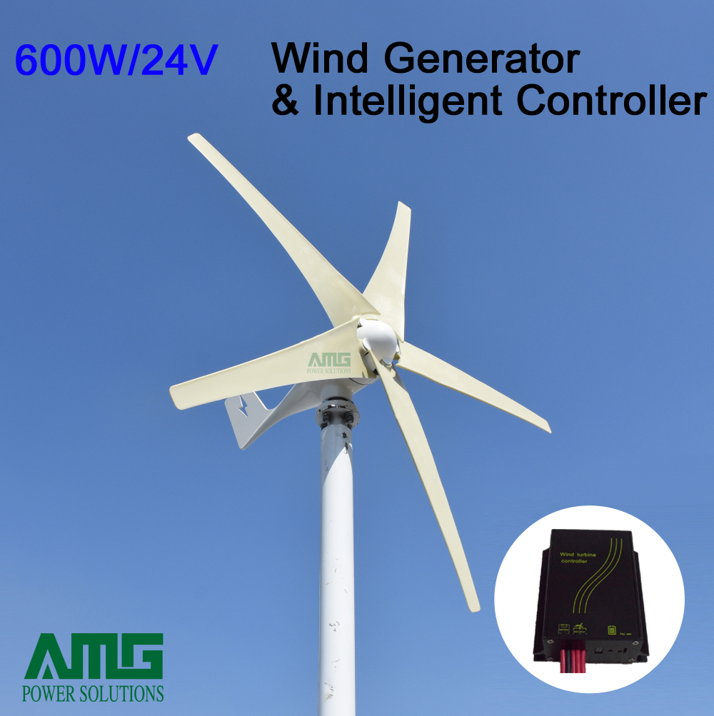Best Price! 600w 24v 5 blades horizontal low wind start up wind turbine generator + waterproof intelligent charge controller купить