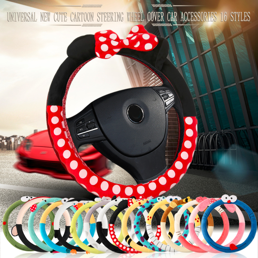 Automobiles & Motorcycles New Cute Cartoon Car Steering Wheel Cover Plush Bow Mickey Panda Minion Women/man Wheel Covers Car-styling Decorations 16 Styles Interior Accessories