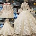 QUEEN BRIDAL 2020 Vestido De Noiva Hot Sale Full Sleeves Bridal Gown Lace Beaded Vintage Wedding Dresses Robe De Mariee WD168