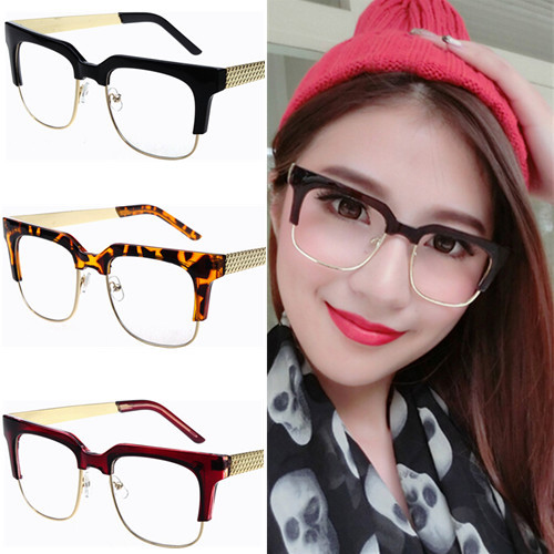 Semi rim Vintage large square eyeglasses frame for men women 60s 70s ...