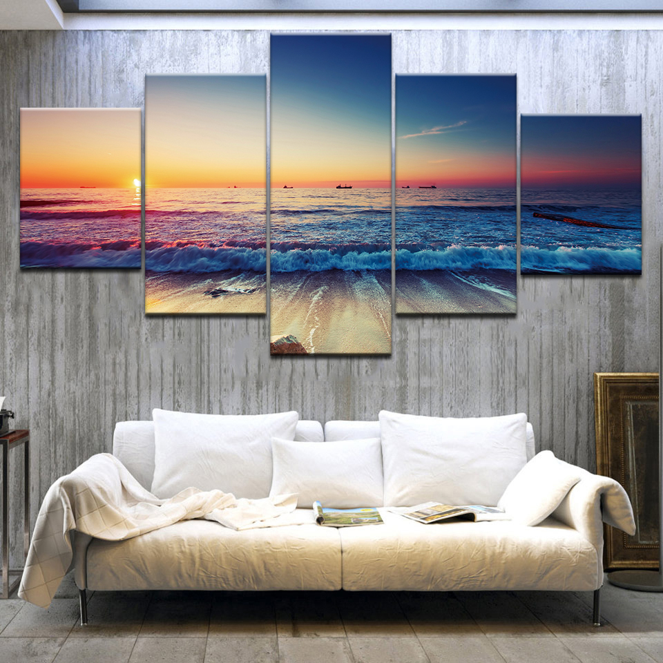 Nature Landscape Poster Sunset Wall Art Oil Painting Modular Canvas Pictures for Living Room Modern Home Decor 5 Pieces No Frame