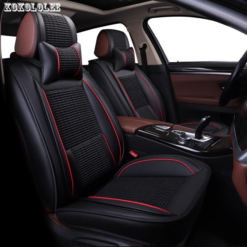 KOKOLOLEE ice silk+pu leather car seat covers for Subaru forester Outback Tribeca heritage xv impreza legacy auto accessories стоимость