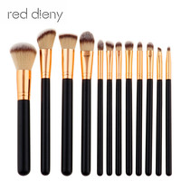 Professional 12pcs Makeup Brush Beauty Tools Foundation Powder Eyeshadow Makeup Brush Sets Cylinder Gradient Hair Black