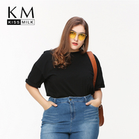 Kissmilk 2016 Women Plus Size Loose Street Style Big Large Size 3XL 4XL 5XL 6XL Black