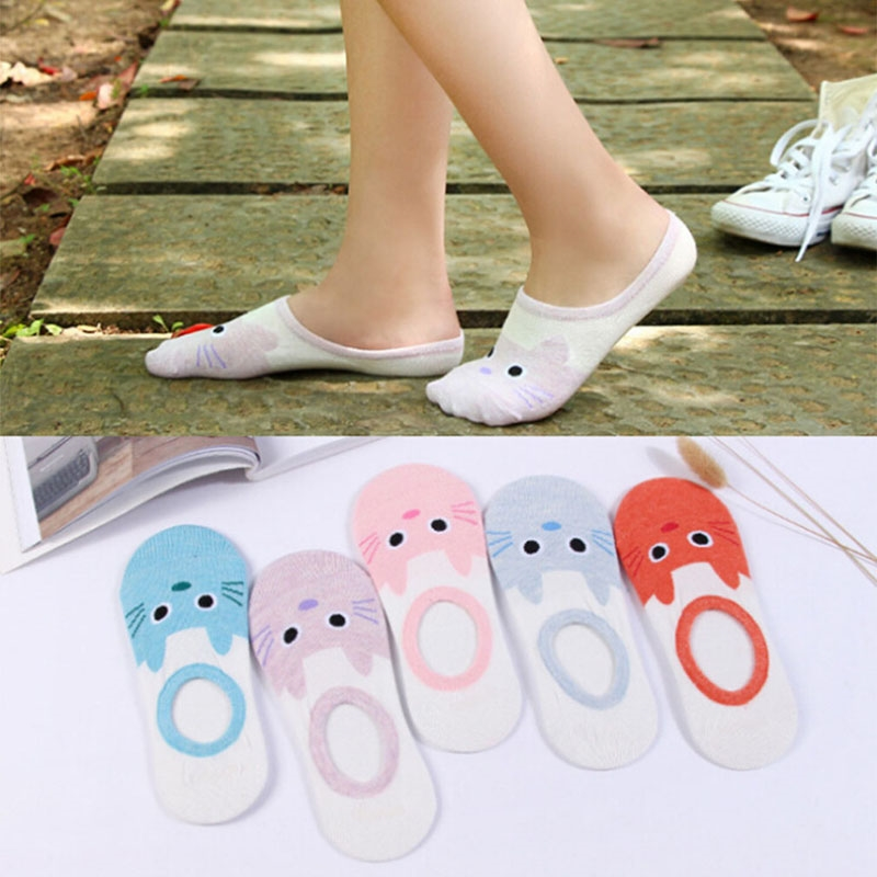 5 pair/package Women Soft invisible socks Low Cut Casual Cotton Loafer Boat Non-Slip Invisible No Show Socks