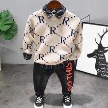 spring autumn children's long sleeve Knit sweater shirt jeans 3pcs suit boys clothing suit baby cotton clothes kids sets