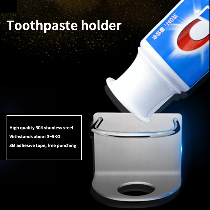 1 PC Toothbrush Holder Storage Rack Stainless Steel Wall Hanging Adjustable For Bathroom Punch-free Adhesive