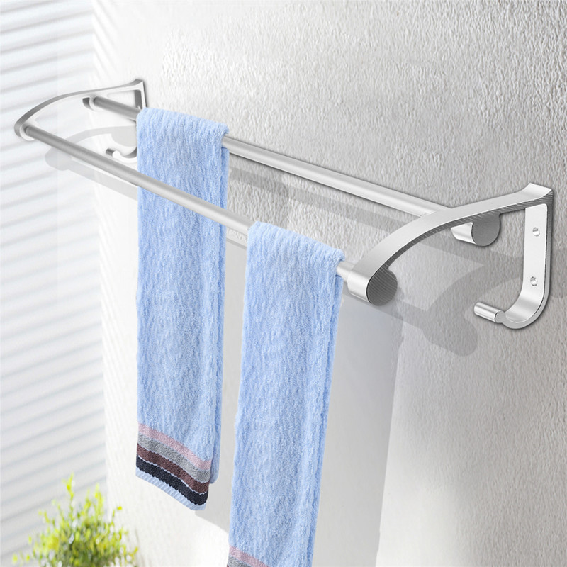 Dual Layer Bathroom Towel Holder Wall Mount Banheiro Towel Rack Holder Rail Shelf Bathroom Accessories 58cm Stainless Steel