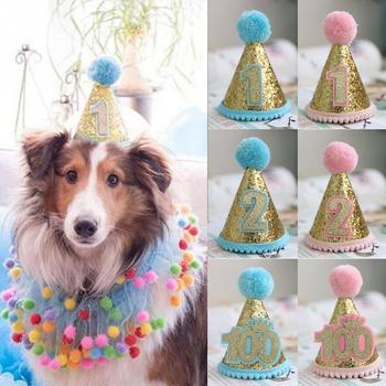 Wysokiej jakości nakrycia głowy urodziny Pet cekiny pies szczeniak kostium imprezowy czapka dla kota akcesoria tanie i dobre opinie Favolook Other