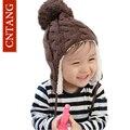 2016 Crianças de Inverno Tampas de Malha Quentes Além de Veludo Engrossar Chapéus Para Proteger Os Ouvidos do bebê Miúdos Bonitos Chapéu Casual Meninos Meninas Beanie