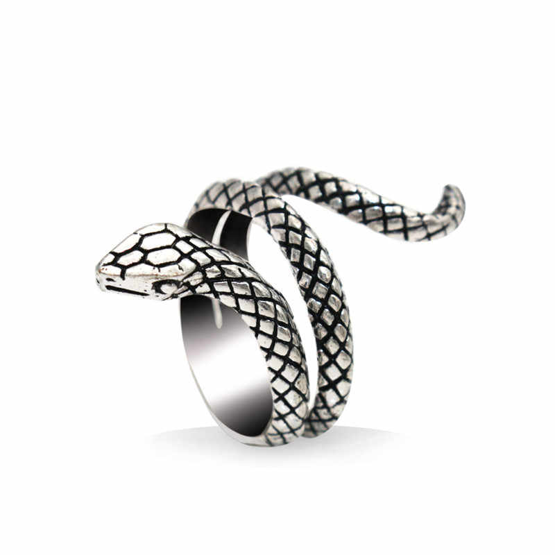 Adjustable Gothic Punk Snake Ring Men Unisex Vintage Jewelry Animal Finger Rings For Women Mens Accessories Wedding Gift