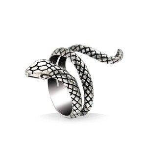 Regulowany Gothic Punk pierścień wąż mężczyźni Unisex Vintage biżuteria zwierząt pierścienie dla kobiet męskie akcesoria prezent ślubny