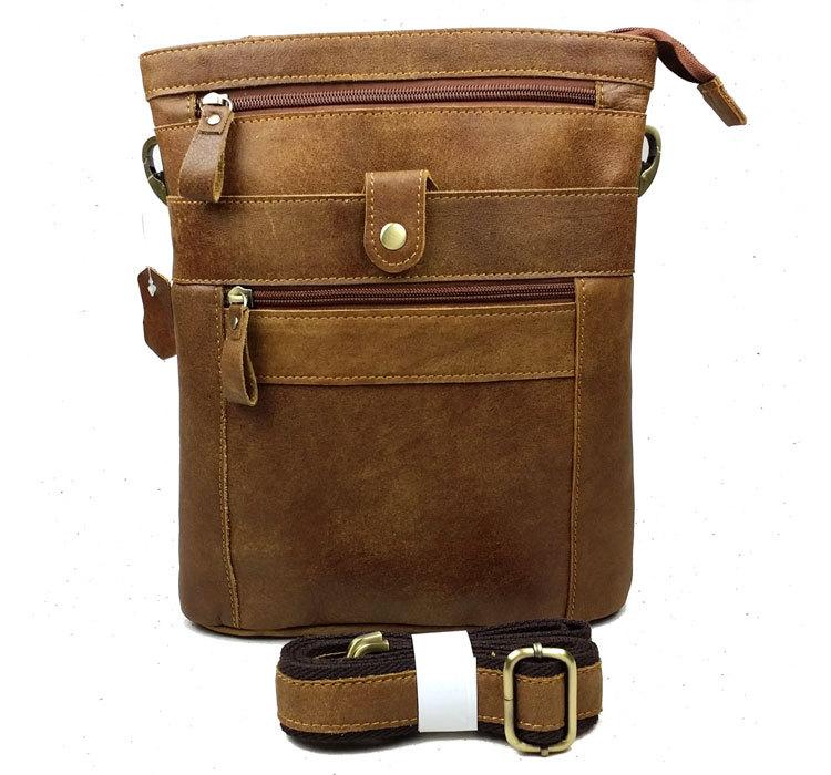 Vintage Bag Real Genuine Leather Bag Men Messenger Bags Cowhide Casual Fashion Cross Body Shoulder Bags