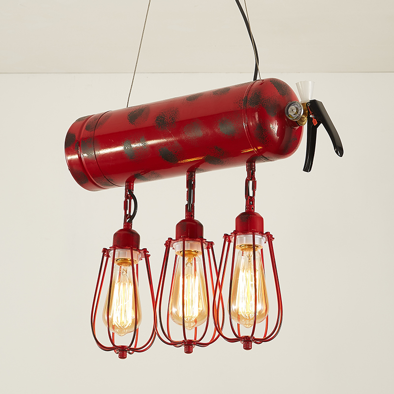 LOFT American Pendant Lights retro iron industrial wind nostalgic bar personality creative fire extinguisher three Pendant lamp