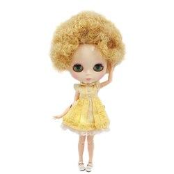 Icy nude fábrica blyth boneca no.130blqe330 golden little curl cabelo comum corpo pele branca neo bjd