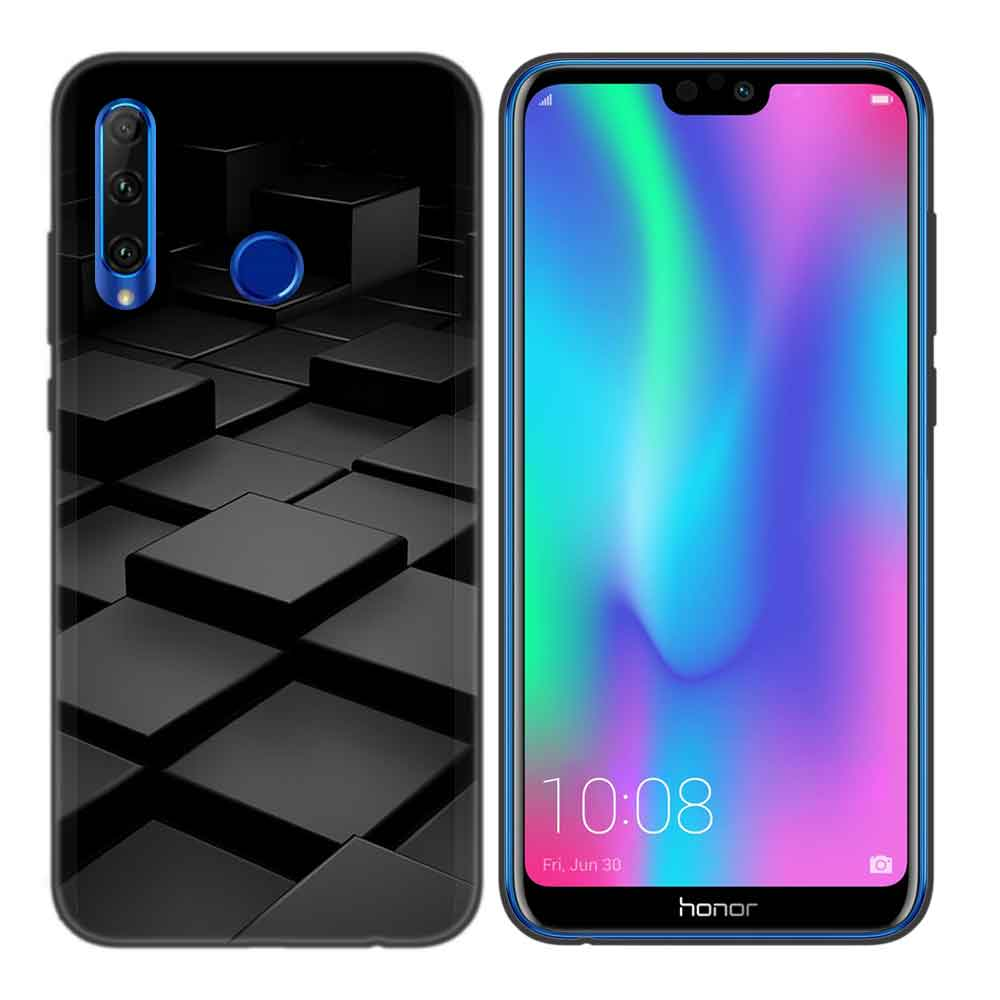 Black Protector Silicone Case Cover for Huawei Honor 8C 8X 8A 10 20 Lite Pro Y5 Y6 Y7 Y9 2019 Play 9X Enjoy V20 Capa Black Light in Half wrapped Cases from Cellphones Telecommunications
