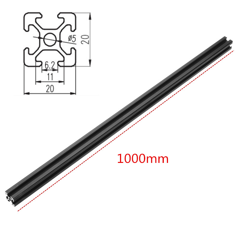 DANIU 1pc <font><b>1000mm</b></font> Length Black Anodized <font><b>2020</b></font> T-Slot Aluminum <font><b>Profiles</b></font> Extrusion Frame For CNC 3D Printers image