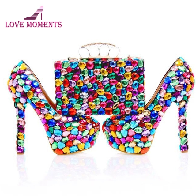 Blue Red Mix Color Crystal Wedding Party Shoes with Matching Bag Women Party Prom High Heels Handmade Crystal Bridal Pumps