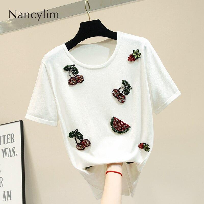 Été col rond broderie ananas soie tricot chemise femmes à manches courtes lâche T-shirt femme mince tricots Nancylim