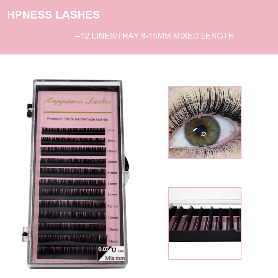 HPNESS 3D Individual Lashes Eyelash Extension Premium Soft Silk Volume Lashes All Sizes Natural Color