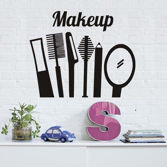 Delightful Make Up Comb Mirror Wall Stickers Kitchen Decor Vinyl Removable Waterproof  Home Decoration Wall Decal