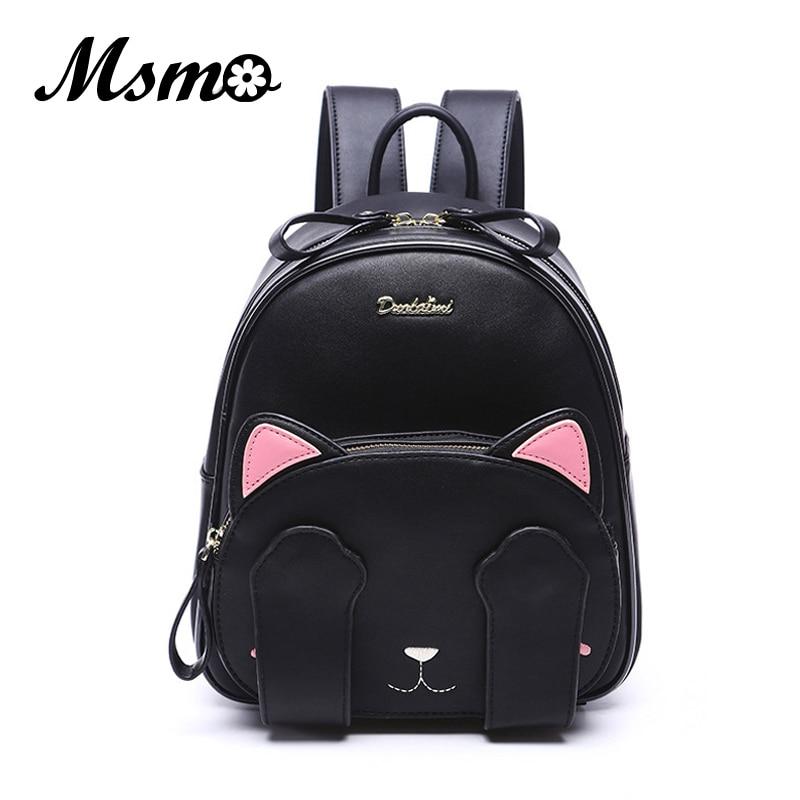 MSMO Kawaii Rucsac pentru urechi de pisică Black Preppy Style Rucsacuri școlare pentru fete adolescente Colegiul stil Casual Rucsac Sac Mochilas
