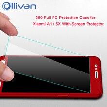 Mi A1 Case Cover For Xiaomi Mi A1 5X Case PC 360 Armor Full PC Protection Case For Xiaomi MIA1 5X Pro tempered glass MI5X