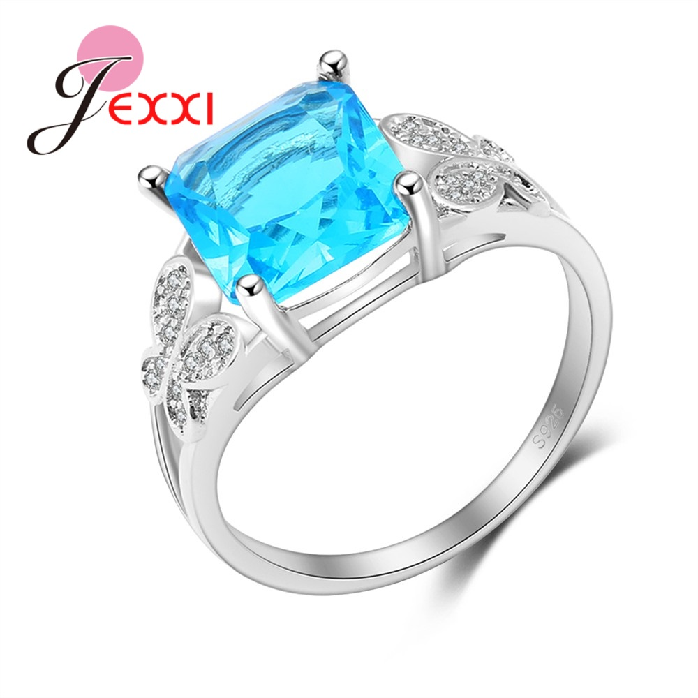 Clear Blue Square Cubic Zirconia Butterfly Shape Rhinestone 925 Sterling Silver Women Big Promotion Rings Party Jewelry