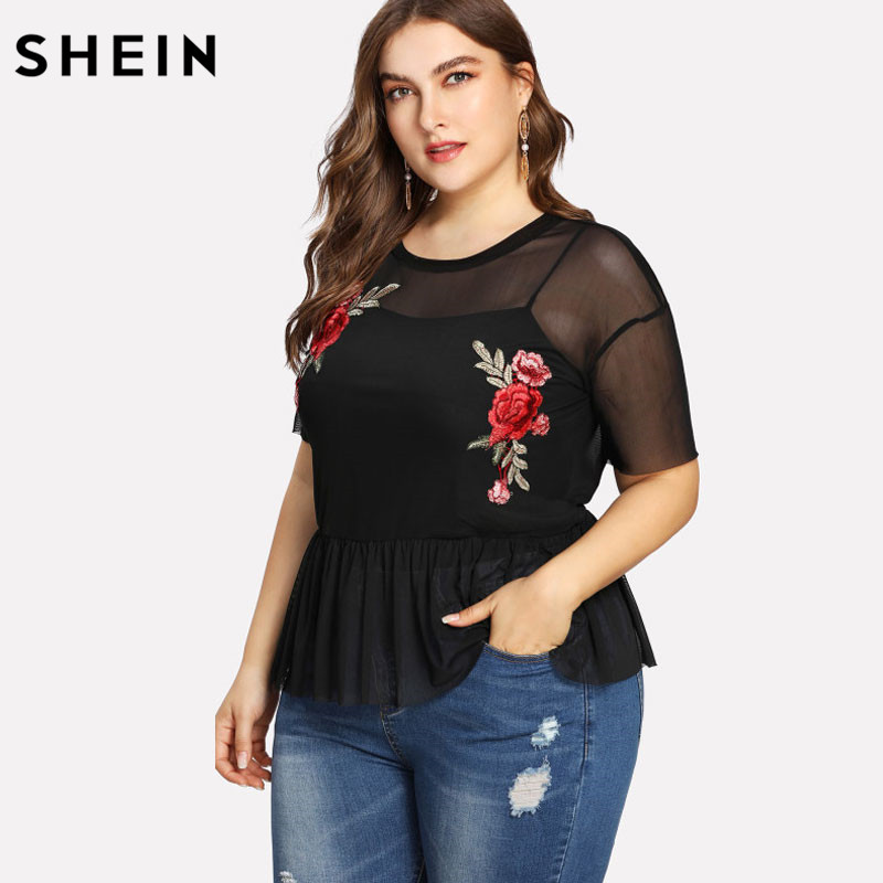 SHEIN Plus Size Summer Black Blouse Women Sexy Floral Round Neck Short Sleeve Embroidered Rose Applique Ruffle Mesh Slim Top 2