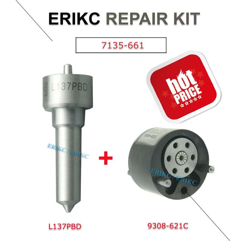 ERIKC 7135-661 Fuel Injector Repair Kits Set L137PBD + 9308-621C Valve and Nozzle 9308 621c for EJBR02901D EJBR03701D EJBR02401Z