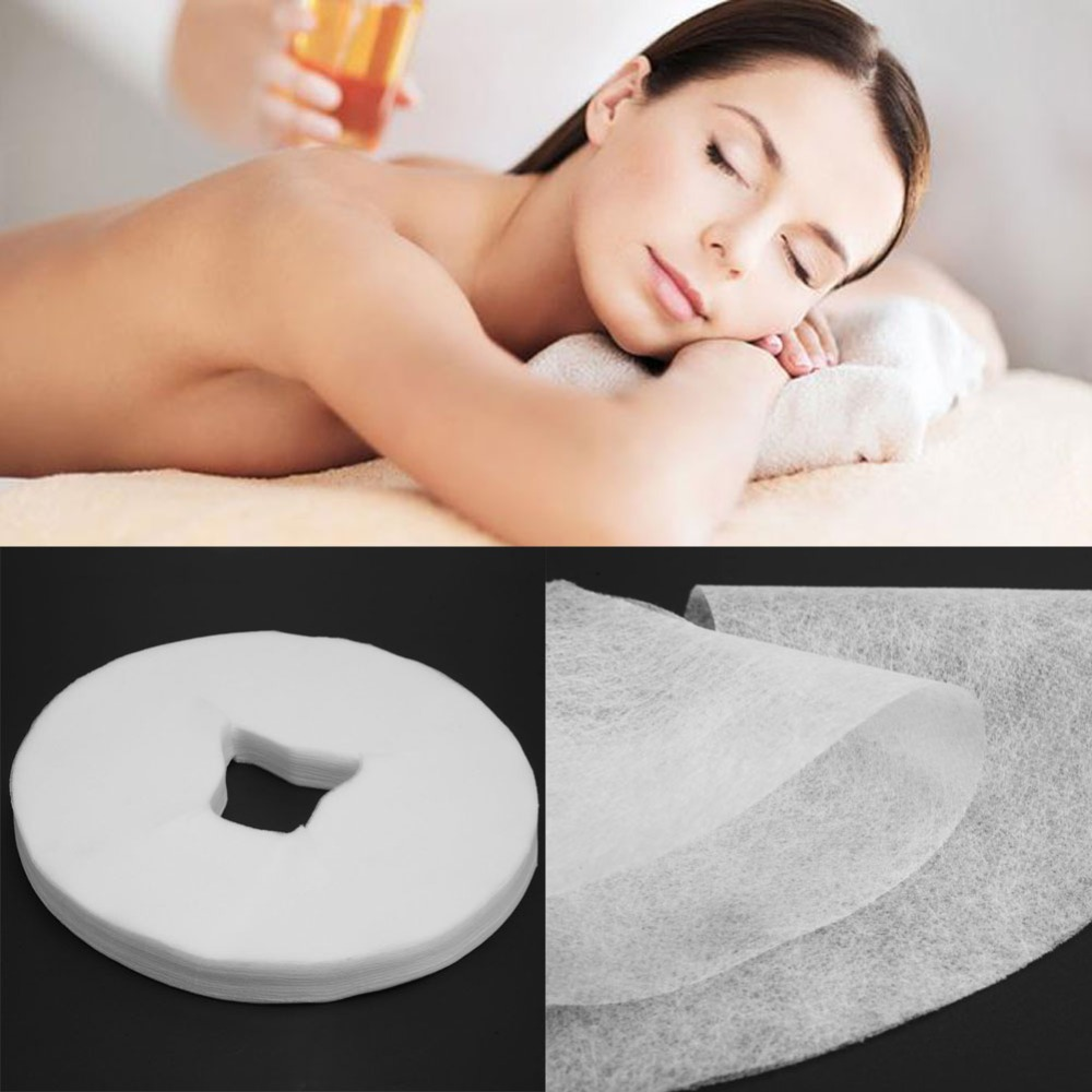 100pcs Disposable Non-woven Fabric Face Hole Mat Beauty Salon Bed Pillow Towel Cover Beauty Accessories ...