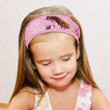 Fioday New Sequin Fip Hair Bands for Girls Wide Elastic Pink and Gold Cover Headbands Bandages for Kids Hair Accessories(China)