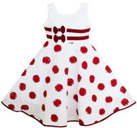 Girls Dress Wine Red Polka Dot Circle Double Bow Tie 2018 Summer Princess Wedding Party Dresses