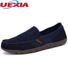 UEXIA Brand Plus Size Canvas Denim Mens Shoes Male Shoes Men Comfortable Casual Lazy Loafers Round toe Flats Moccasins Big Size