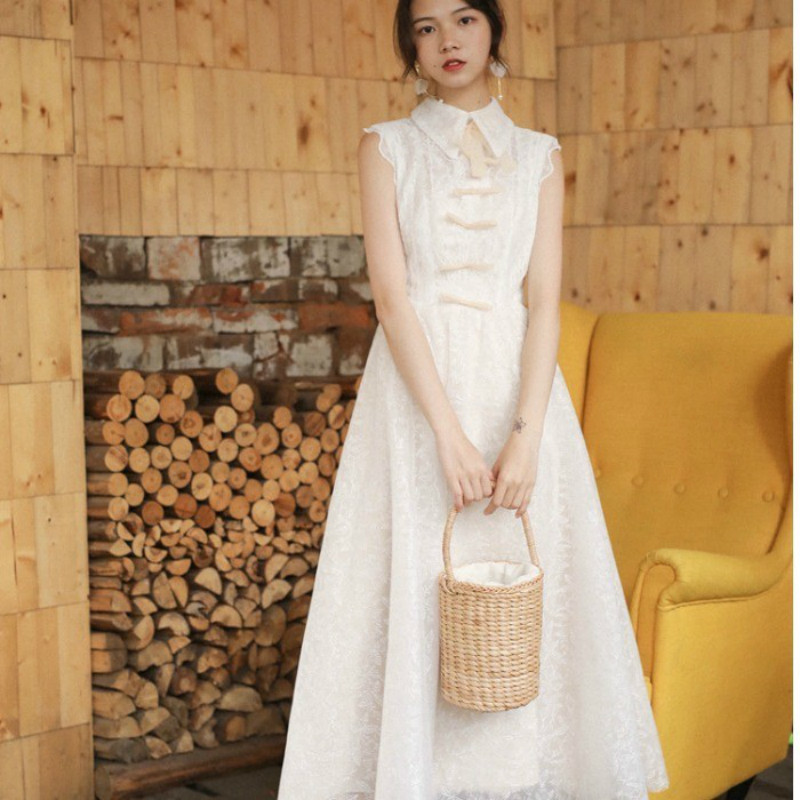 2019 Summer Mesh Lace Long Women Dress Clothes Vintage White Bow Sleeveless Brand Party Dress Fairy Female Vestidos