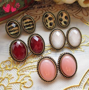 Discount Vintage Oval simulated Gemstone Earrings Fashion Personalized Leopard Ear Stud Women's Mix Order 30pair/lot