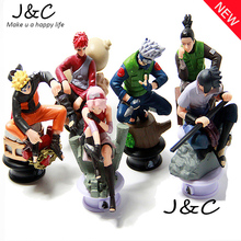 2016 New 6pcs/lot Naruto 8cm Chess Action Figure New Sasuke Ninja Model Toy PVC Action Toy Figure Children Toys Gifts
