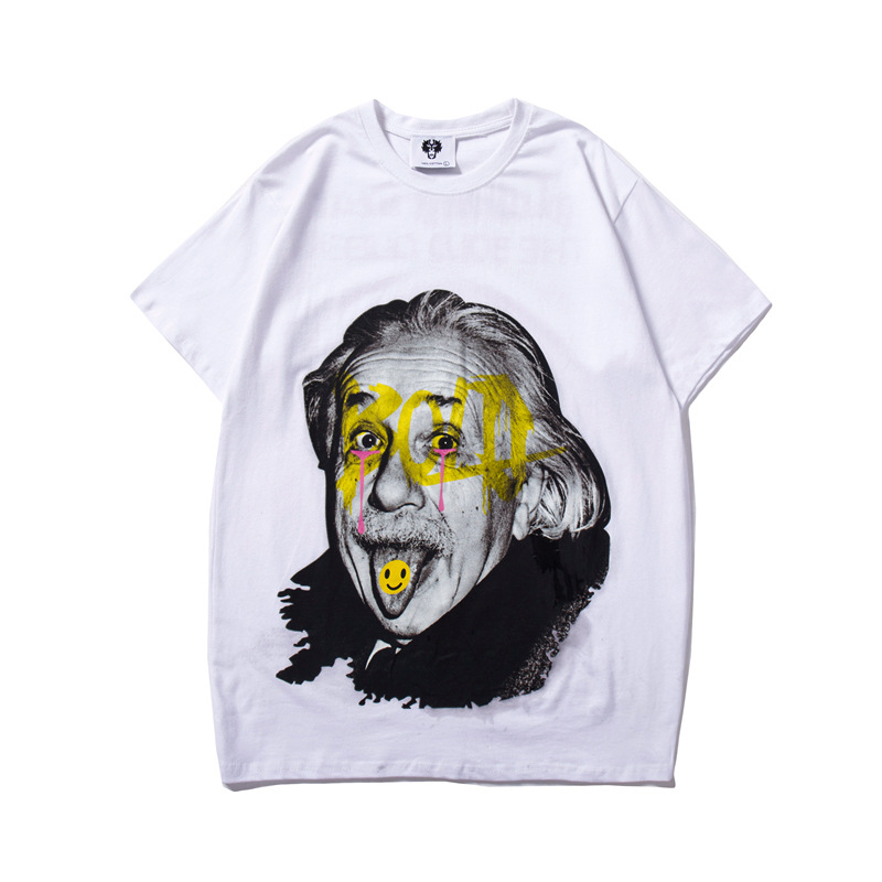 ZOGAA 2019 Funny Printed Street Loose Short-Sleeved Pure Cotton T-Shirt Male Summer Albert Einstein Couple Tee