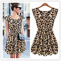 2016 Women Plus Size XXL XL Sexy Short Sleeve Leopard Print Skater Dress Tunic Party Dress Waist Elastic Pleated One-Piece Dress