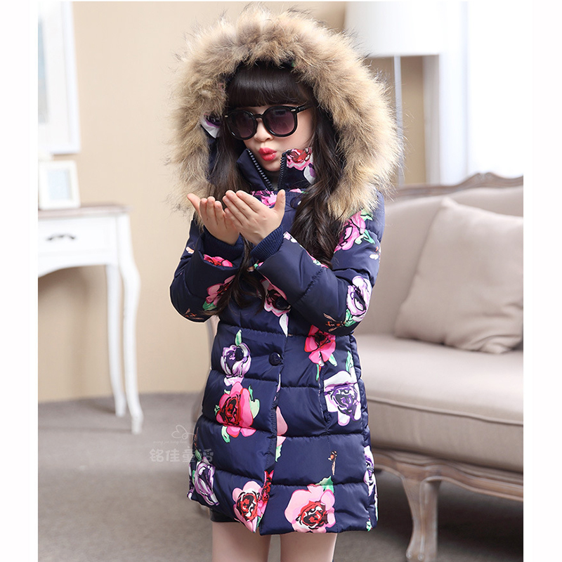 Girls Wadded Jacket Thermal Winter Children Outerwear for Girls Thickening Floral Kids Coats For 4 5 6 7 8 9 10 11 12 13 Years girls jackets and coats 2018 spring autumn jacket for girls children clothes fashion teenage girls outerwear 5 7 9 11 13 years