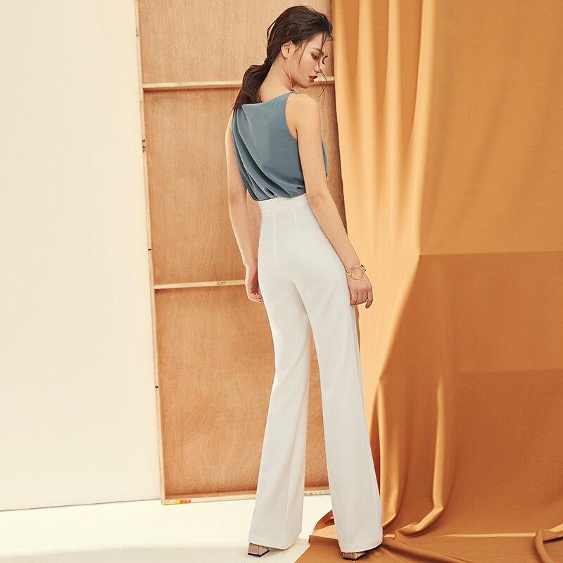 1933d762dc9b D été Mode Taille Haute Vêtements Blanc Droit Jambe Robe Dames Pantalon  Femme Bureau Occasionnels Large De Femmes g8ndFTd