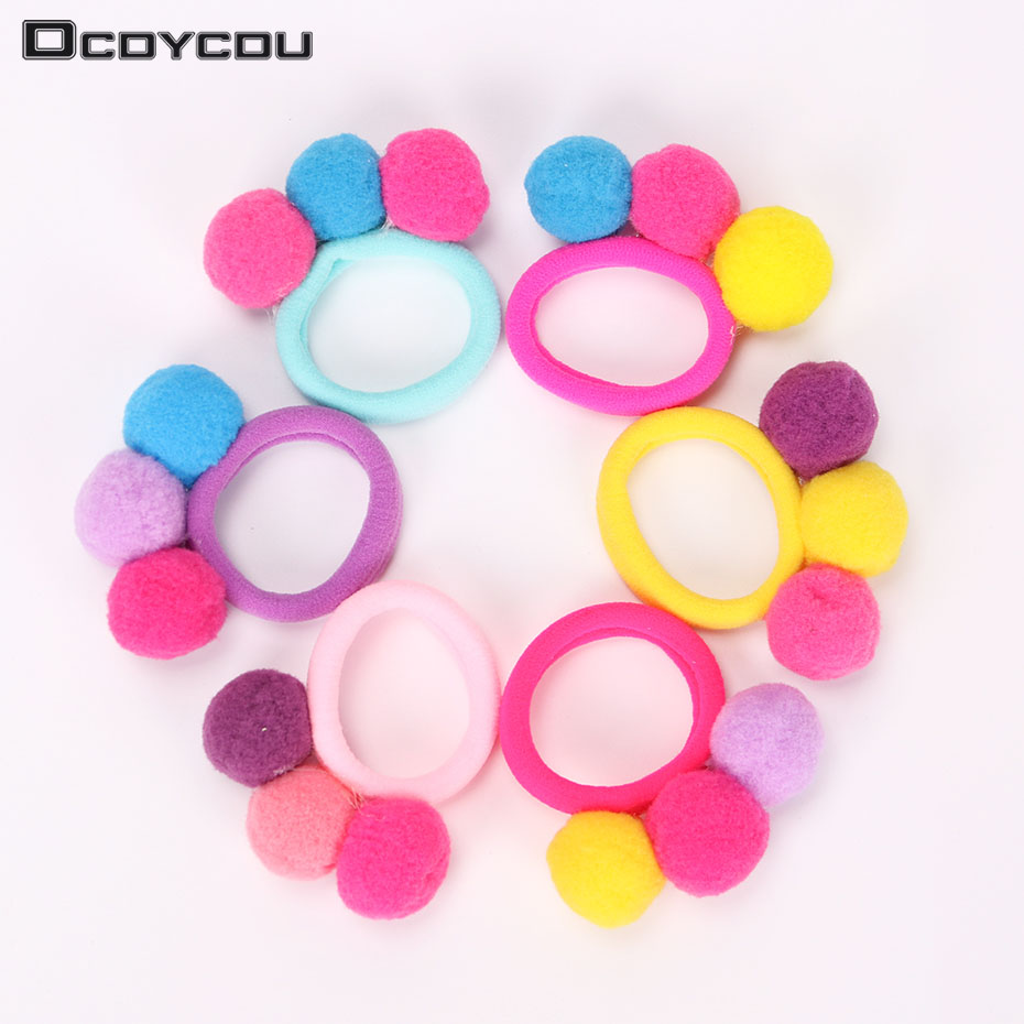 1PC New Cute 3 Balls Elastics Hair Holders Bands Gum Fashion Kids Candy Rubber Bands Headwear Girl Hair Accessories