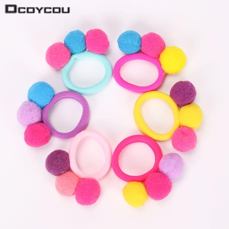 1PC New Cute 3 Balls Elastics Hair Holders Bands Gum Fashion Kids Candy Rubber Bands Headwear Girl Hair Accessories