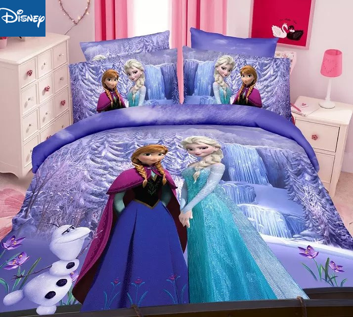 Frozen Elsa and Anna Princess bedding set twin size bed sheets duvet covers for girls room single bedspread coverlets 3d hot