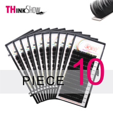 Thinkshow 10pcs/lot B/C/D Curl 12Lines Eyelash Extension Individual 3D Russia Silk Volume Natural Long Lash