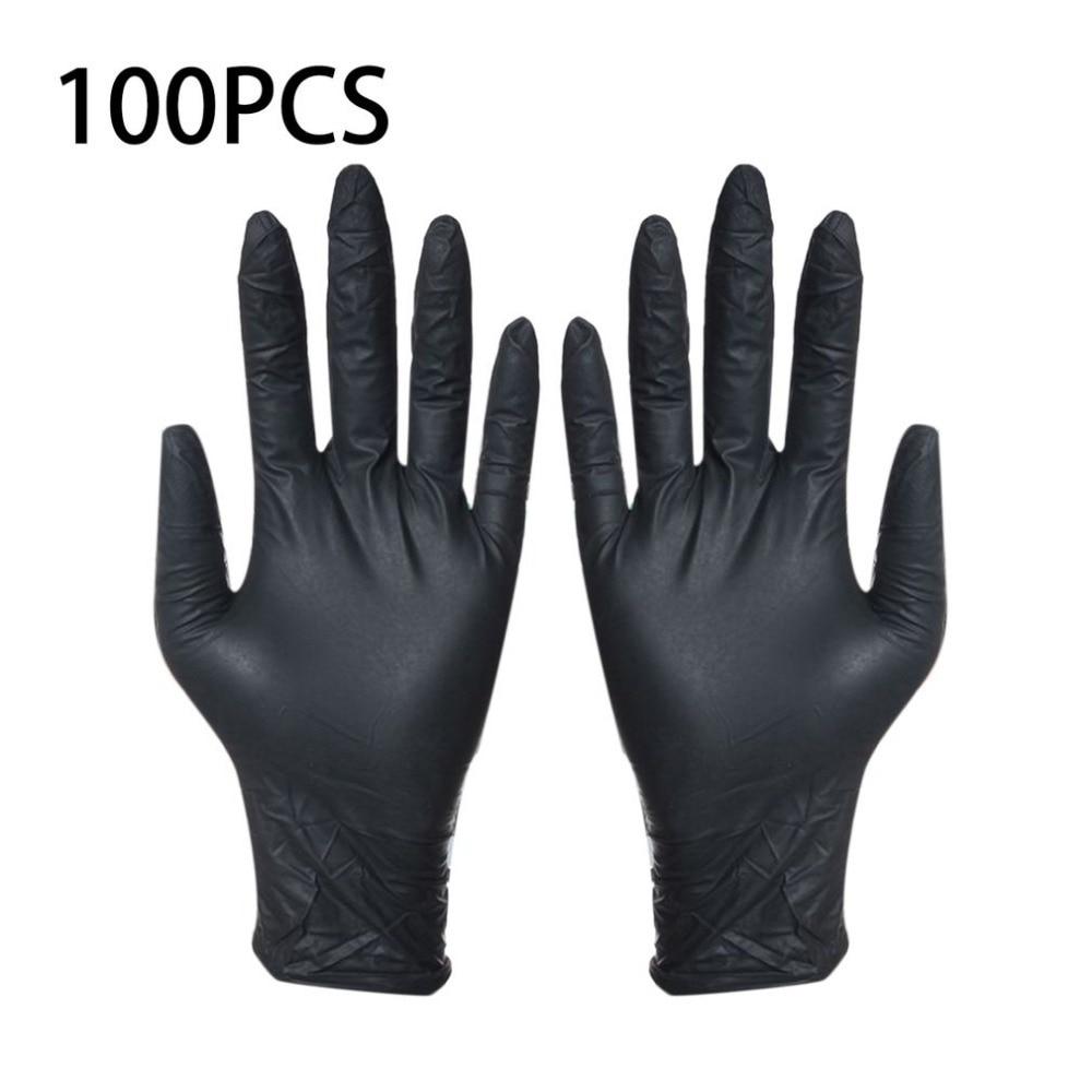 Einweg Schwarz Handschuhe 100 stücke Haushalt Reinigung Waschen Handschuhe Nitril Labor Nail art Medizinische Tattoo Anti-Statische Handschuhe