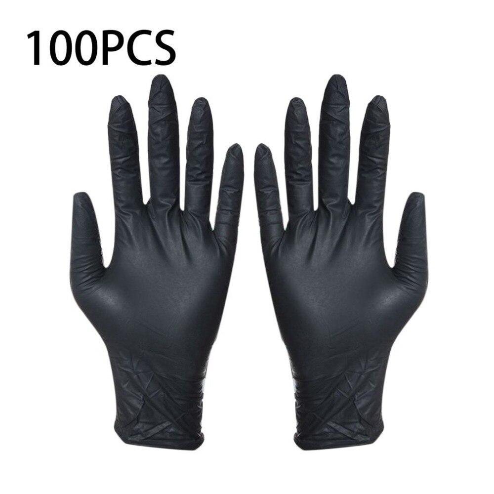 Guantes negros desechables 100 piezas guantes unids de limpieza del hogar guantes de lavado de nitrilo laboratorio de uñas tatuaje médico guantes antiestáticos