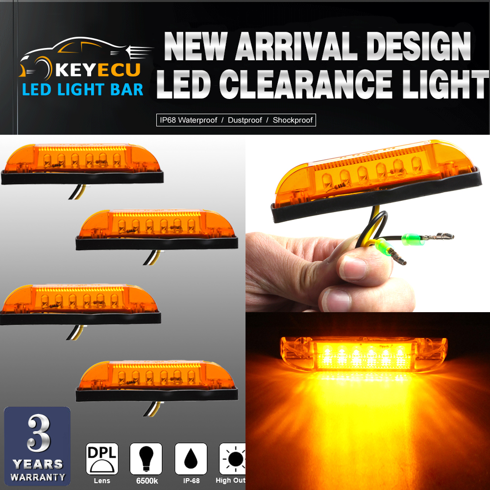KEYECU 4PCS amber LED Strip Light Maker Light 4 Great Utility Light Indoor & Outdoor Lighting universal use on any application
