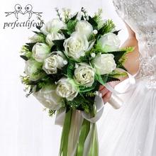 Perfectlifeoh Ramos de novia White Rose Bouquet De Noiva Flores Do Casamento Romântico Seda Bouquets De Casamento para Noivas