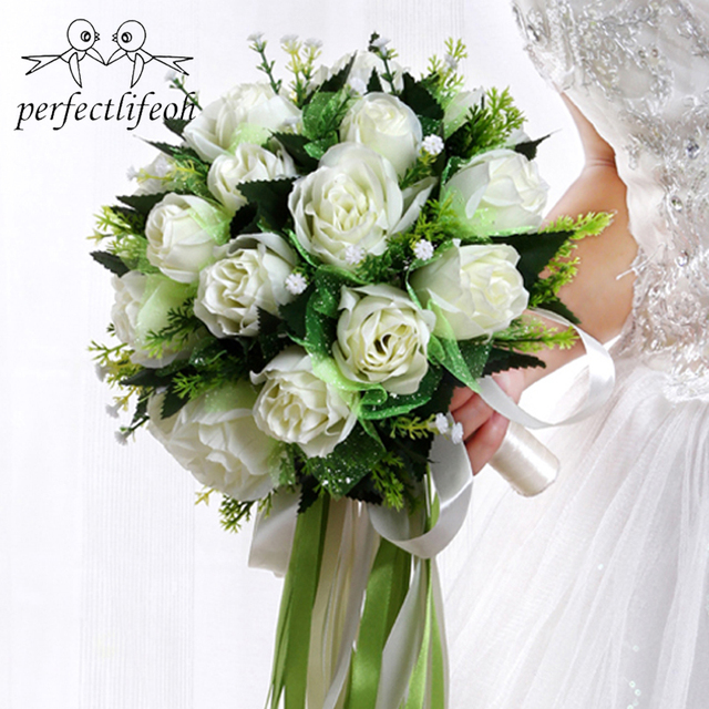 Perfectlifeoh ראמוס דה novia לבן רוז כלה זר חתונת פרחים רומנטי משי זרי חתונה עבור כלות